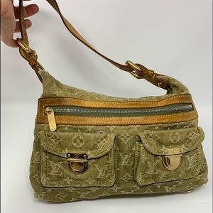 authentic Louis Vuitton Green Denim Shoulder Bag